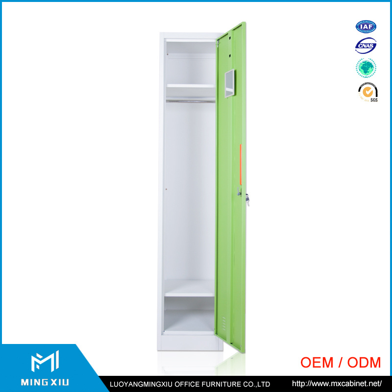 Luoyang Mingxiu Single Door Steel Cabinet Clothes Locker /Metal Wardrobe Locker