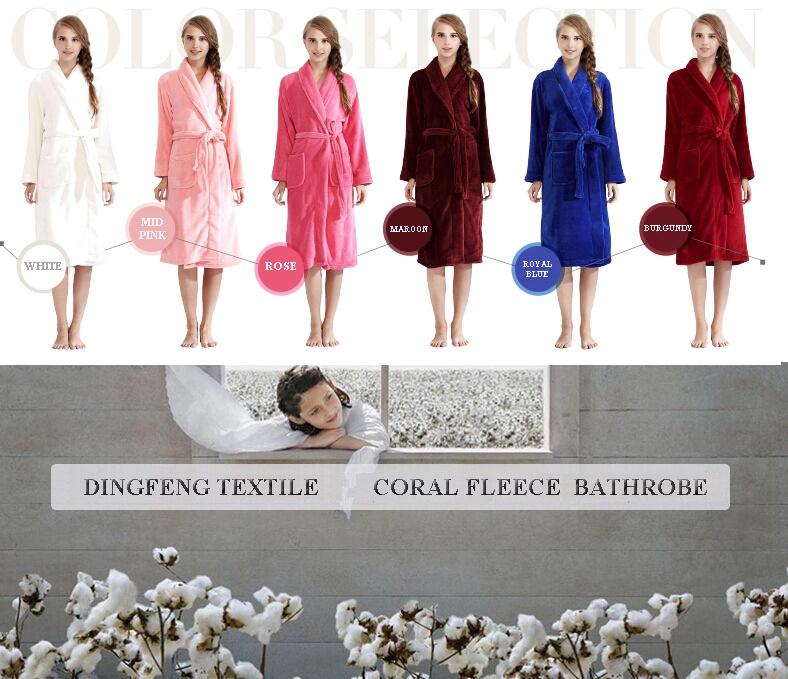 2015 Professional Sleep Expert Lover′s Solid Color Coral Fleece Bathrobe Df-8875