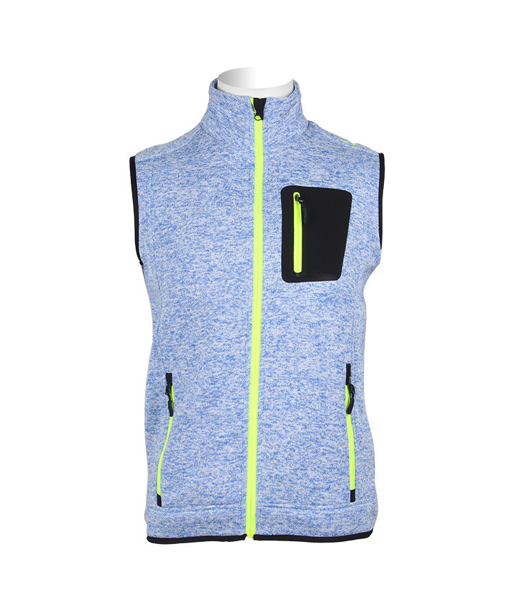 Stylish High-Necked Men Vest Jacket Fleece with Fluorescent Zipper