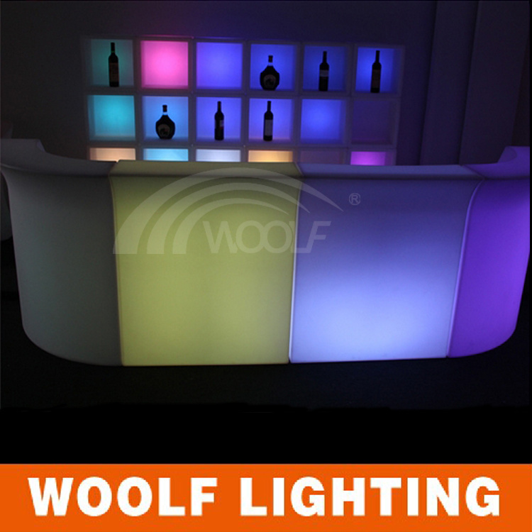 Custom Shape Size Straight Corner LED Bar Table