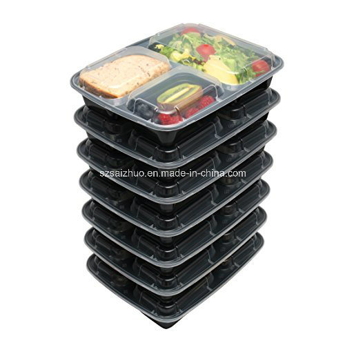 3 Compartment Microwave Safe Plastic Food Box for Storage