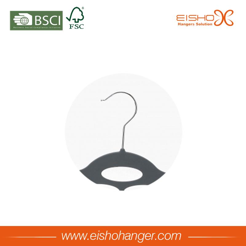 High Quality Grey Velvet Tie Hanger with Holes (SJYL0513)
