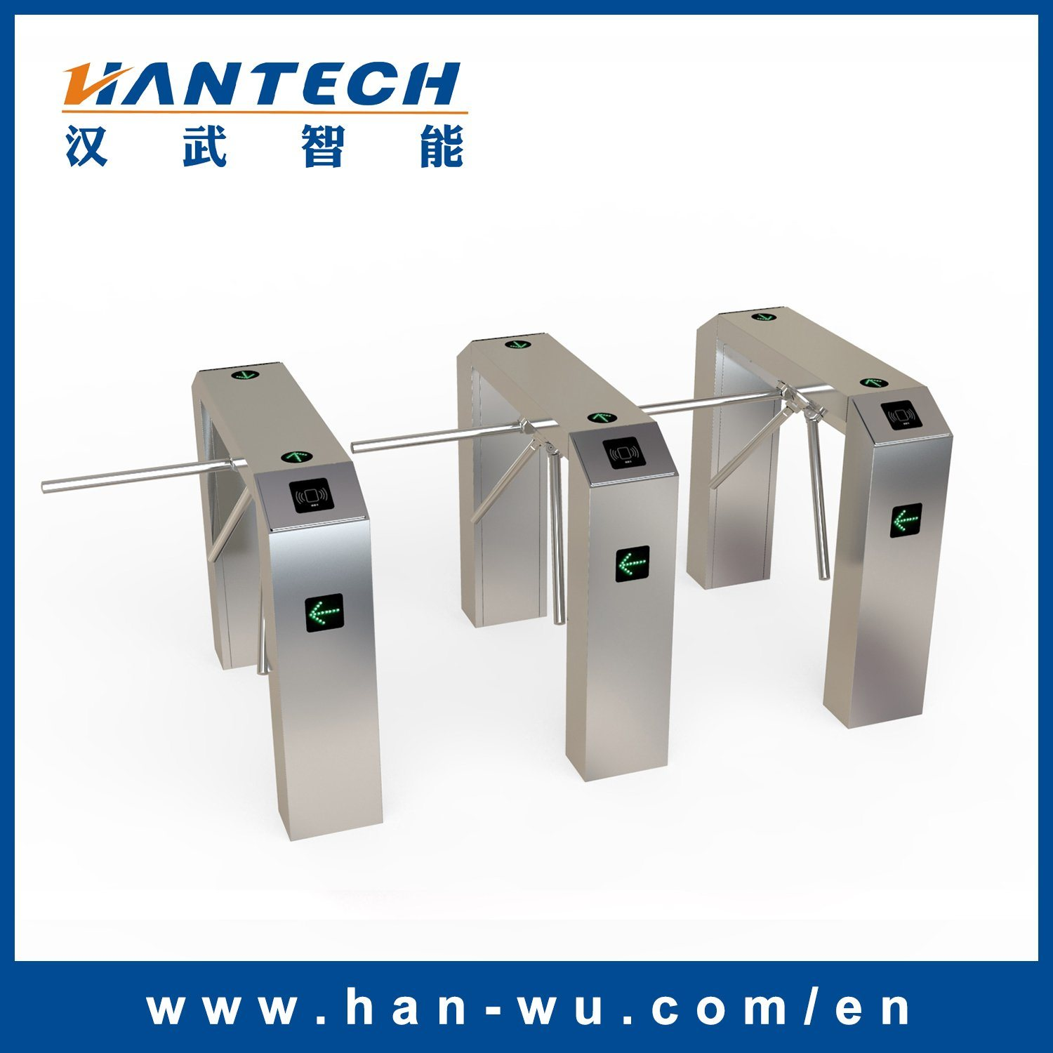 Waist Height RFID Card Reader Tripod Barrier for Access Door