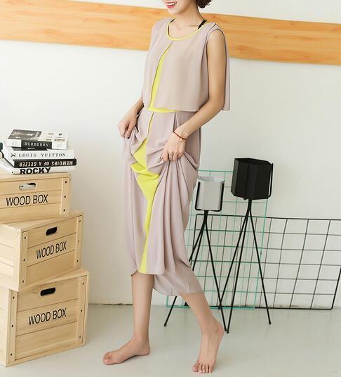 Colour Matching Chiffon Sleeveless Round Neck Tiered Ladies Dress
