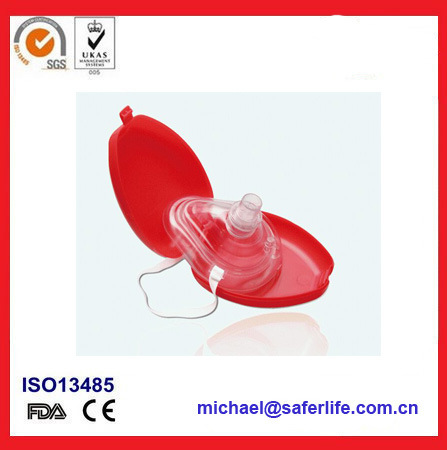 One Way Valve Face Shield Earloop First Aid Breath Barrier USA FDA Ce ISO Disposable CPR Mask Combo
