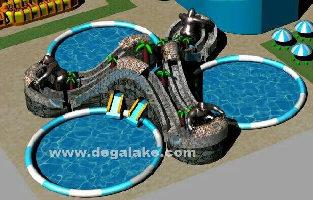 Inflatable Three Lane Chimpanzee Slide with Three Swimming Pool