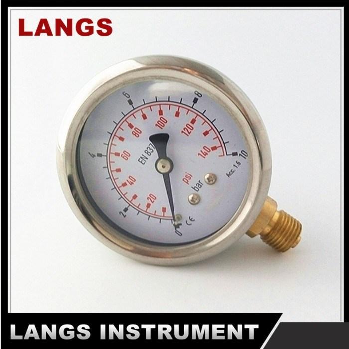 "070A 2.5"" Wika Type Rolling Ring Brass Internal Pressure Gauge Bottom"