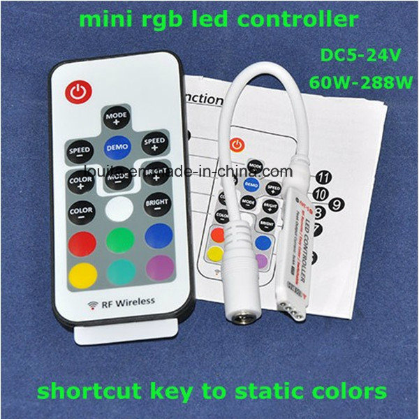 DC5-24V Mini RGB LED Controller with RF Remote