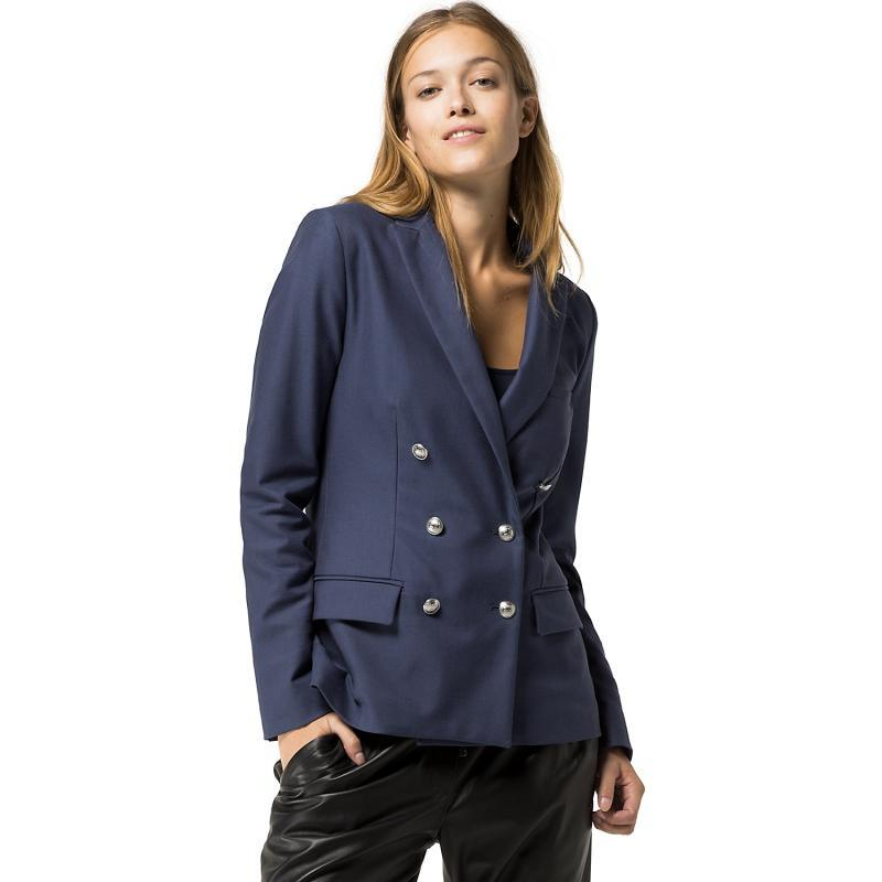 Fashion Style Ladies Double Breasted Blue Blazer