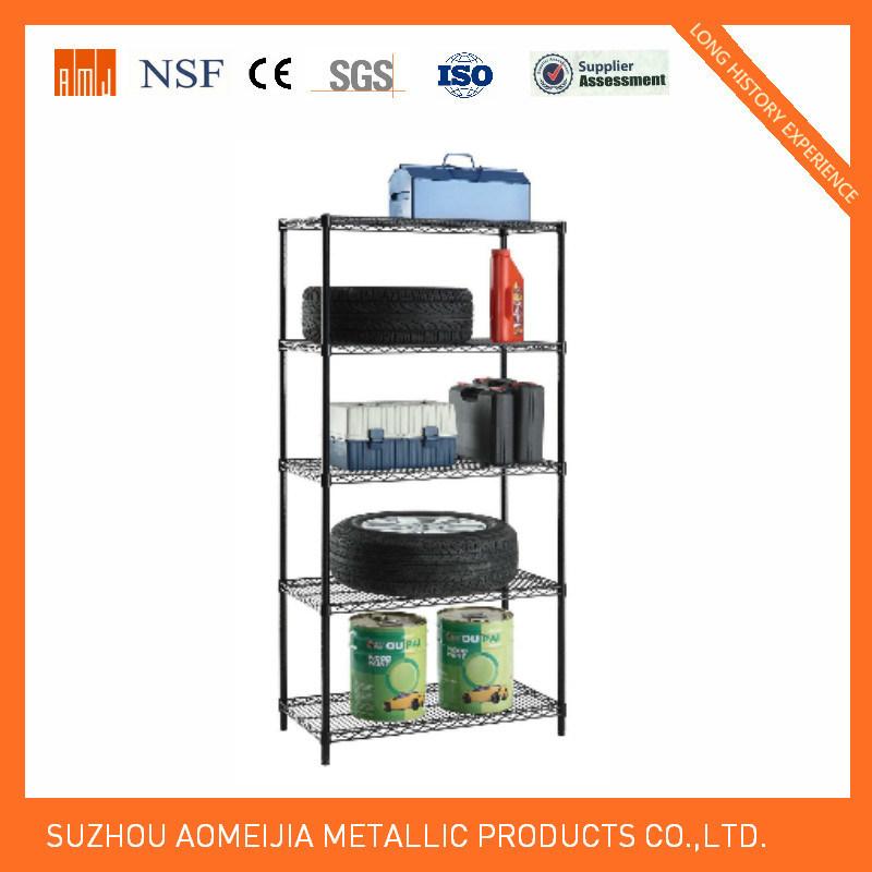 5 Tier Heavy Duty Black Display Wire Shelf