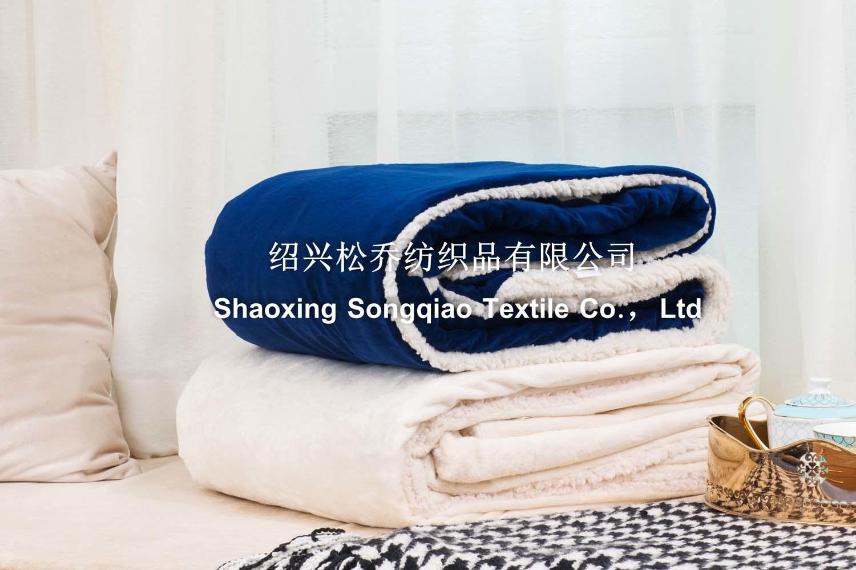 Mink with Shu Velveteen Sherpa Fleece Blanket / Baby Blanket-Dark Blue