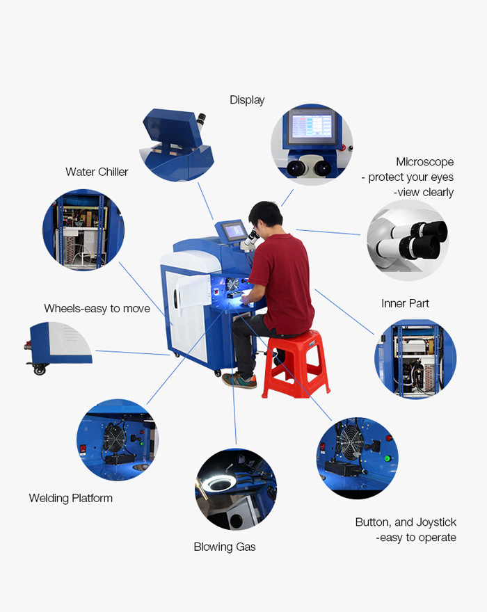 200W Jewelry Laser Spot Welding Machine for Metal with Chiller