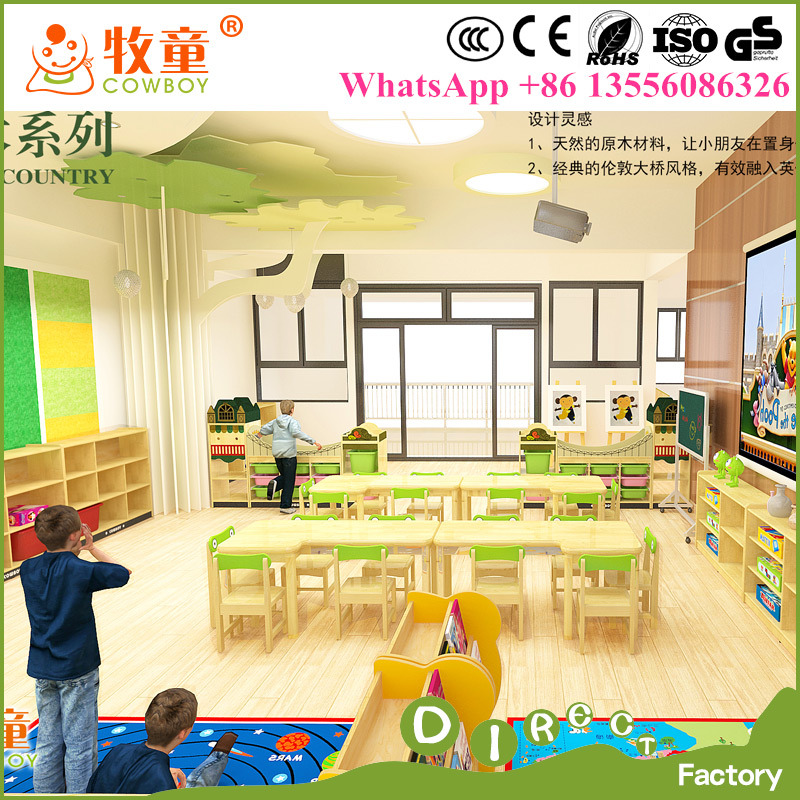 Kids Wooden Desk and Chairs Sets, Wood Nursery Classroom Furniture for Wholesale