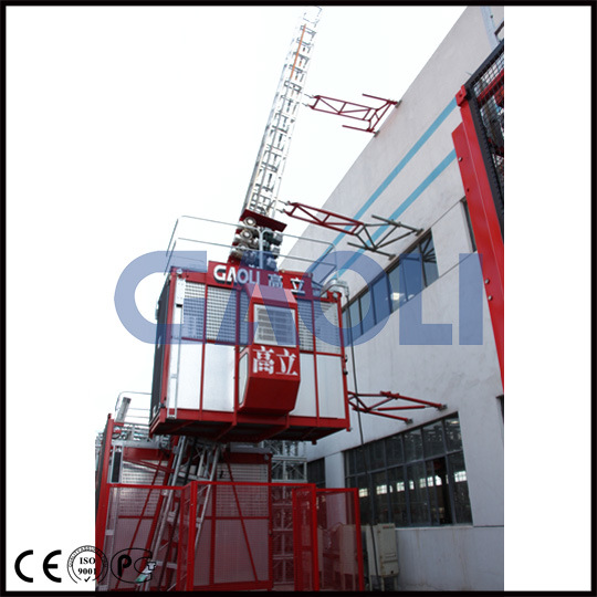 Gaoli Scq100/100 Double Cages Lean Construction Hoist