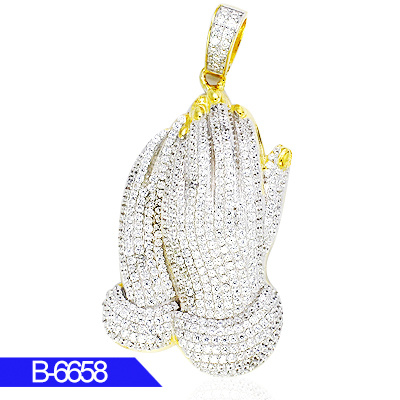 Wholesale Artificial Fashion Jewellery 925 Sterling Silver Cubic Zirconia Iced out Hip Hop Pray Hand Pendants for Men pictures & photos
