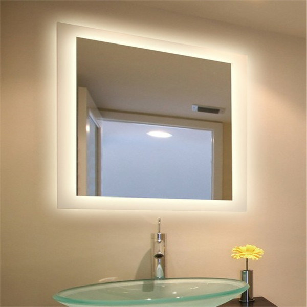 Modern Wall Hanging Bathroom Lighted Fluorescent Mirror for Hotel
