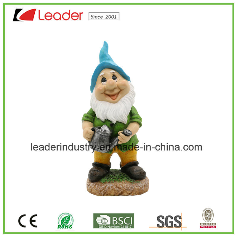Polyresin Gnome with Watering Can Hanging for Garden and Wall Decoration