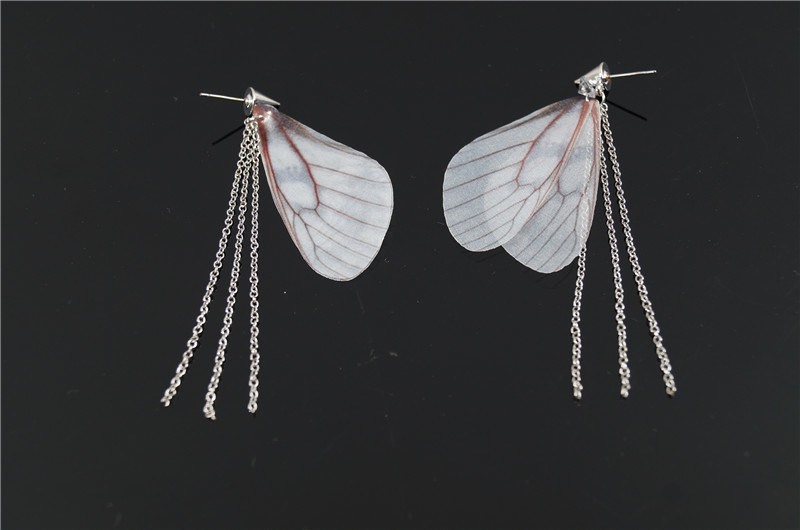 Fabric Butterfly Wing with Chain Earring