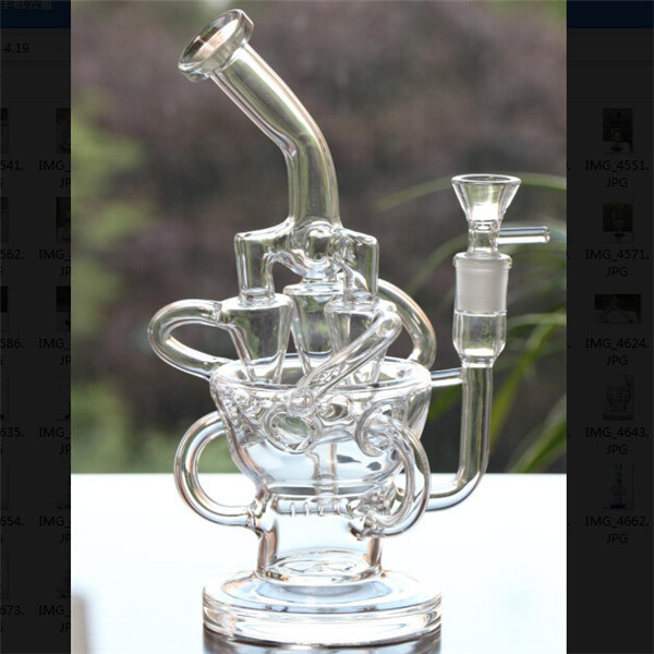 """11"""" Tall Handblown Glass Water Pipes Inline Perc Pipes"""