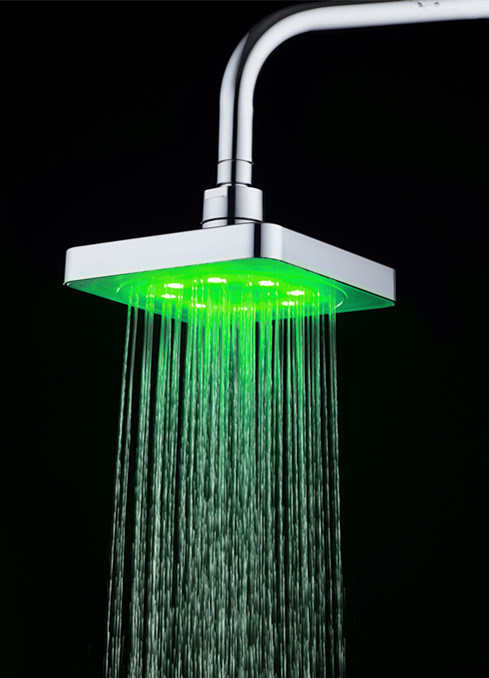 Square Green Colour Temperature Controlled No Battery LED Overhead Shower Head