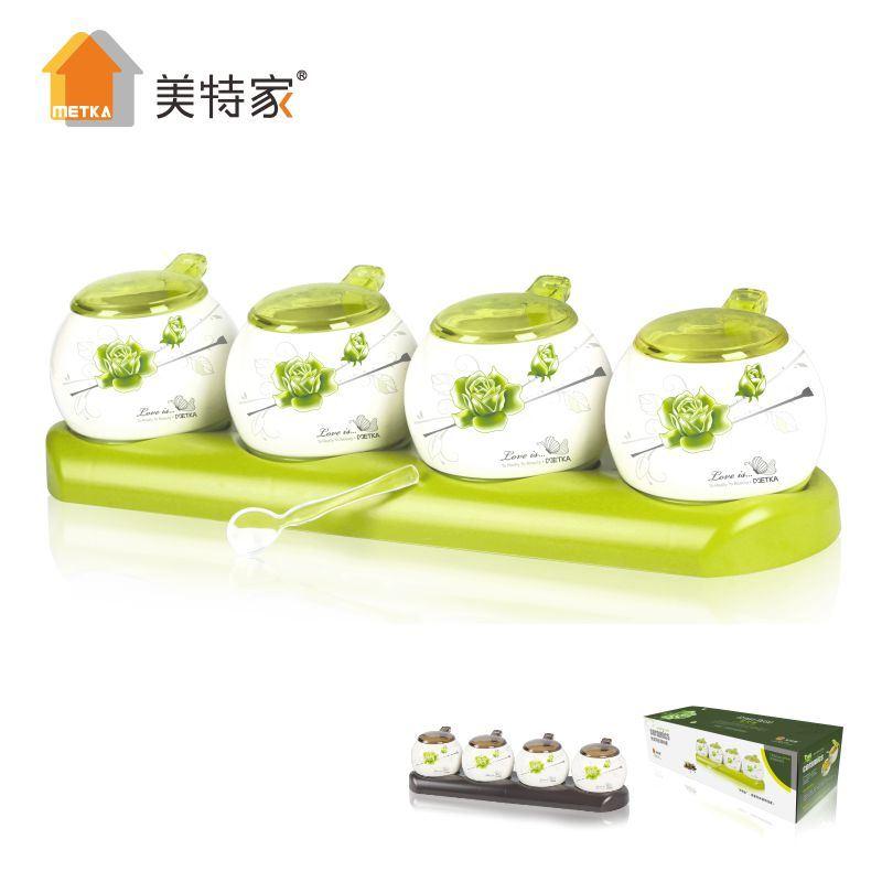 6324 Metka Household Kitchen Strengthen Porcelain Seasoning Set 4 Pot