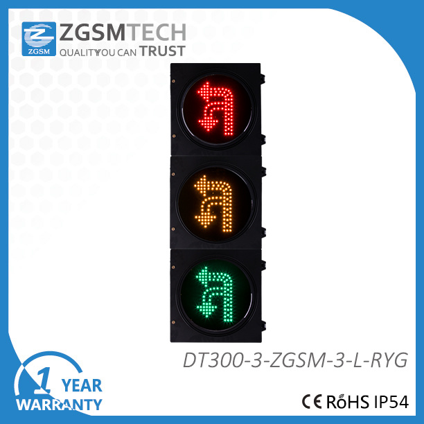 Turn Round U Turn and Turn Left Traffic signal Light 3 Colors Red Yellow Green Dia. 300mm 12 Inch