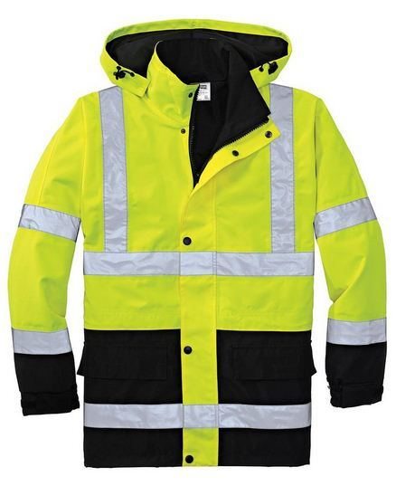 Flu Yellow Hi Vis Safety Jacket Meet En/ANSI