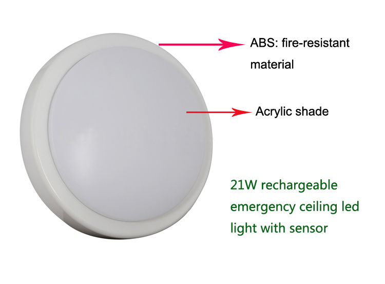 Rechargeable Emergency LED Flush Mount Ceiling Light Fixture with Battery