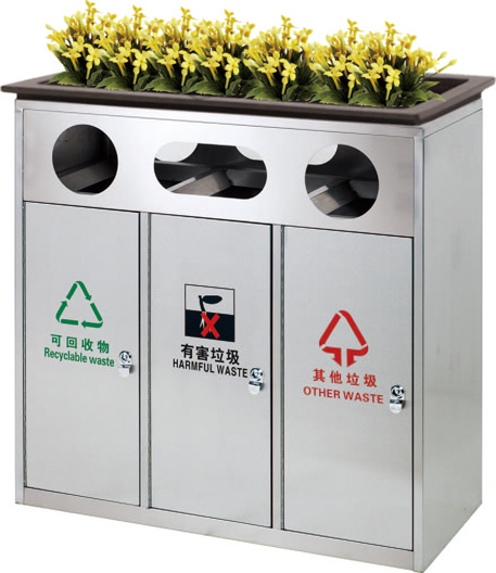 Classified Outdoor Stainless Steel Waste Container (HW-82)
