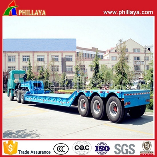 3axles Gooseneck Detachable Lowbed Front Loading Hydraulic Truck Semi Trailer