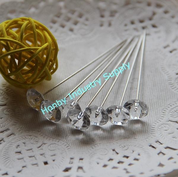 65mm Crystal Diamond Shape Diamante Pin for Corsage