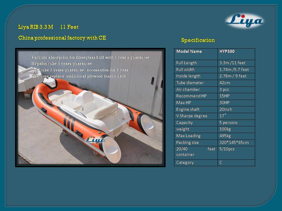 Liya 330 Small Rigid Inflatabel Boats with Motor Best Rib Boat for Sale