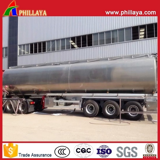 3axles Oil Mobile Tank Semi Trailer Stainless Steel Fuel Tanker with Volume 30-60cbm