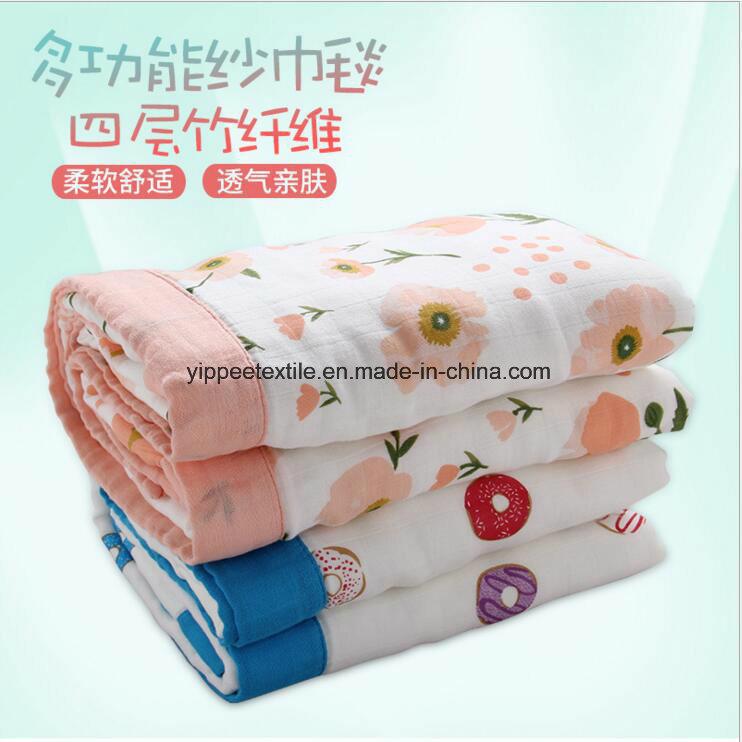 Four Plies Cotton Muslin Blanket, Newborn Blanket, Baby Blanket