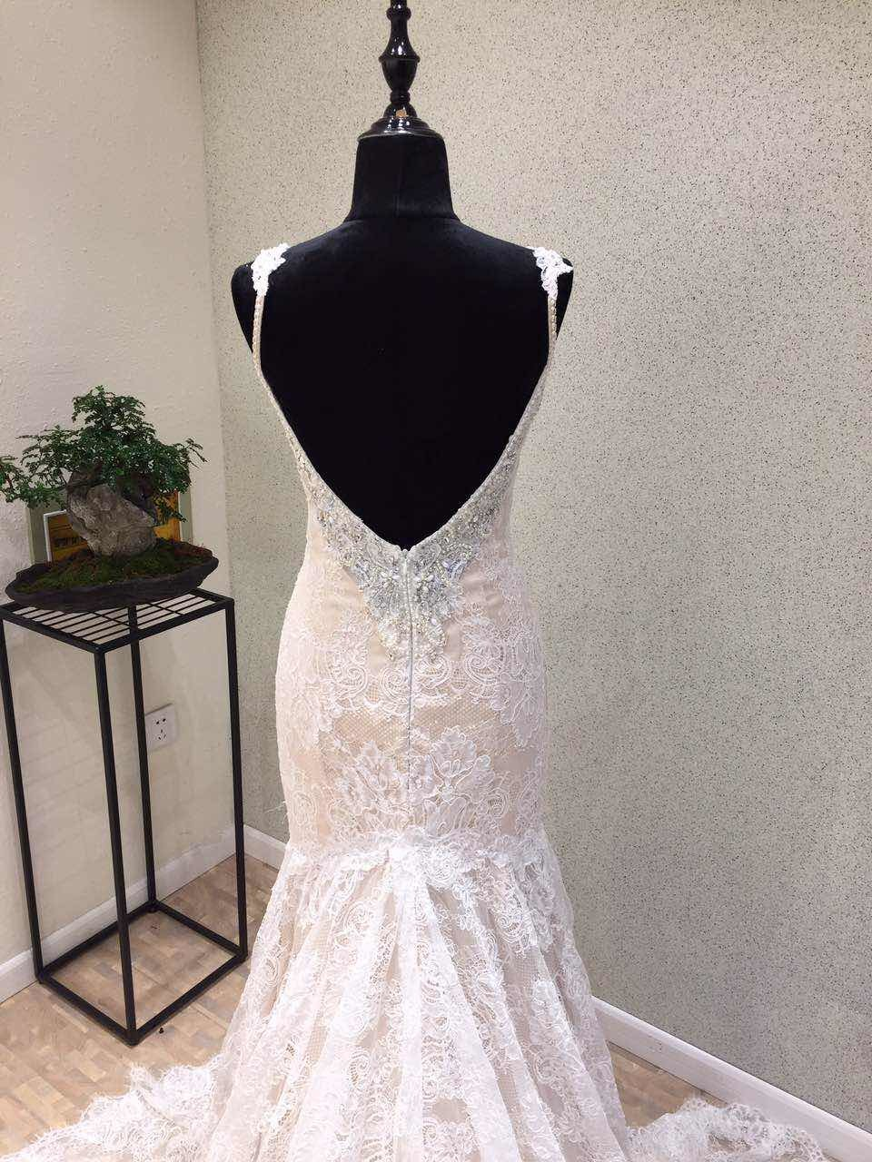 Fashion Lace Beading Mermaid Evening Prom Wedding Gown