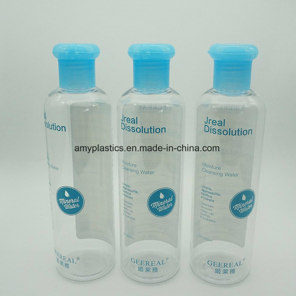 300ml Pet Clear Liquid Bottle with Particular Blue Flip Cap