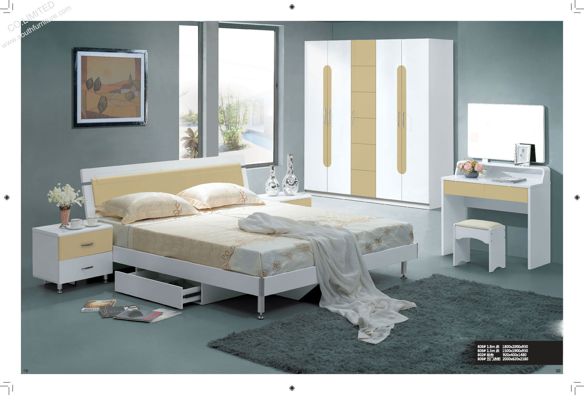 China Bedroom Sets QF 806 China Bedroom Sets Furniture Bedroom