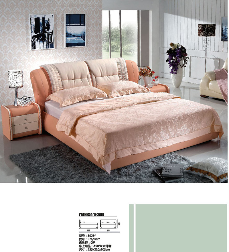 China beds leather bed soft bed sofa bed 3023 for Soft leather sofa bed