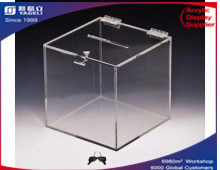 Acrylic Clear Cubed Ballot Box, Black Box
