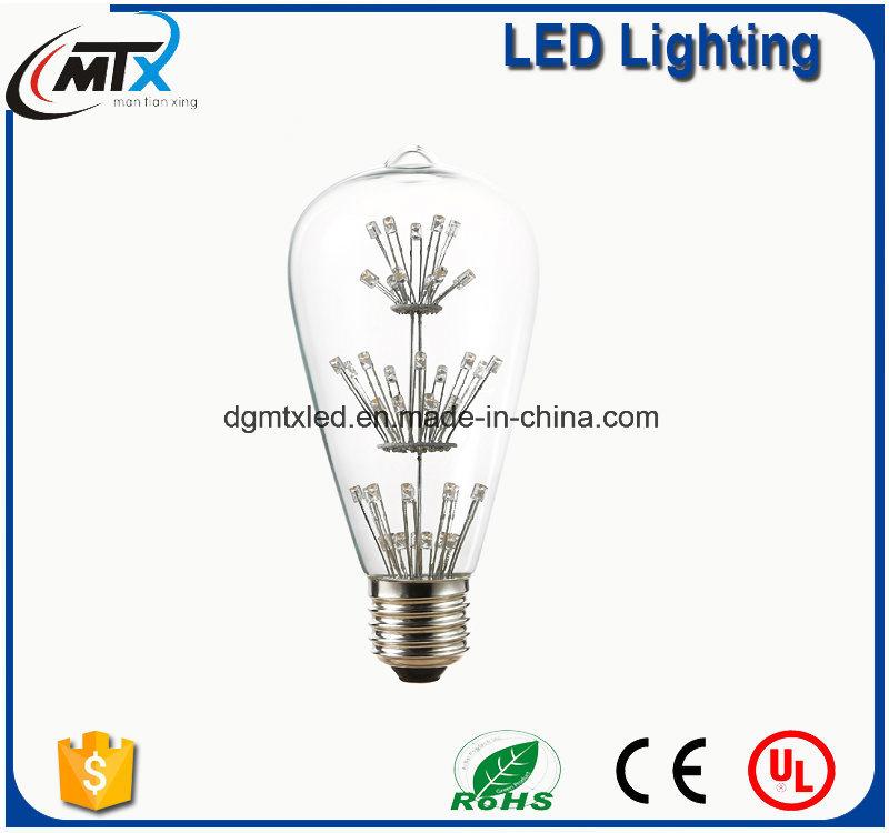 MTX LED light bulb CE ST64 Warm White Energy Saving 3W LED Starry Bulb Decoration light bulb