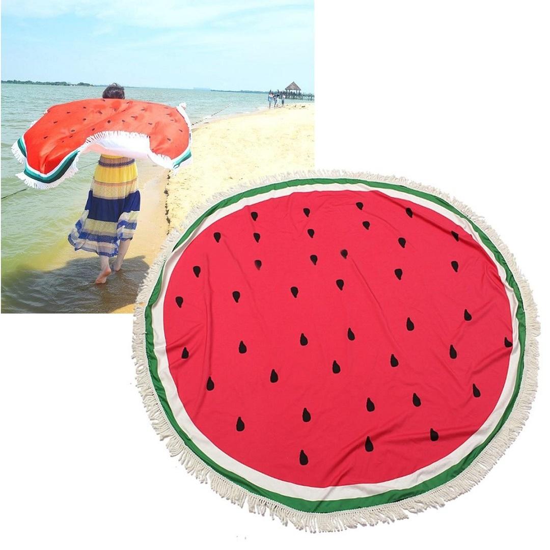 Dia 150cm 100% Cotton Microfiber Velour Printed Beach Towel