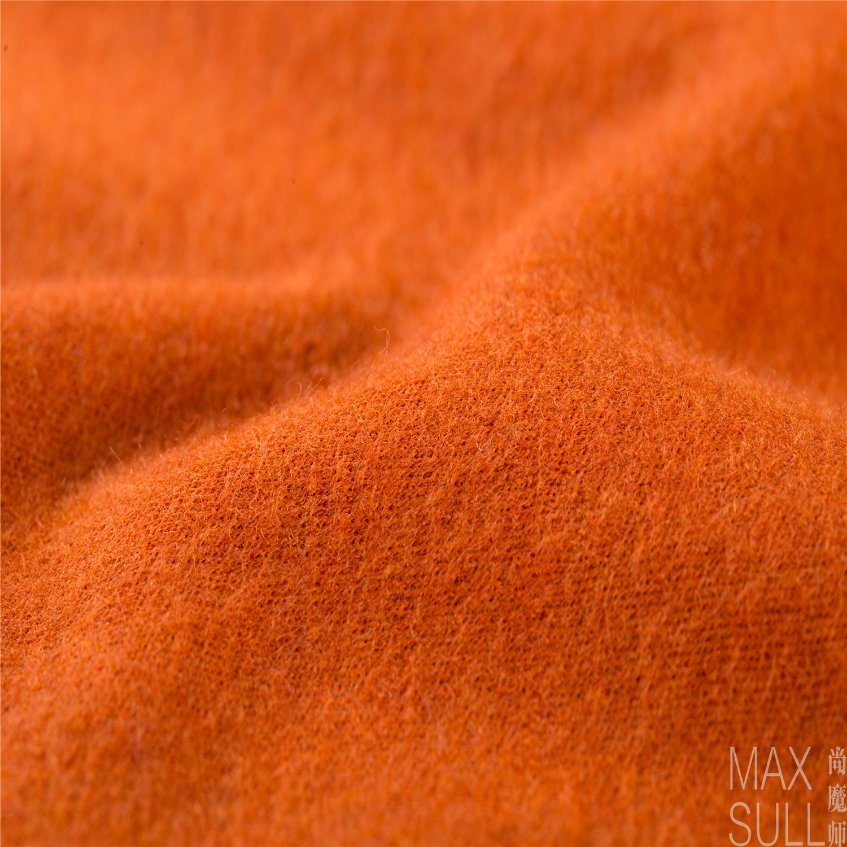 Wool/Nylon Fabric Good Elasticity in Deep Orange