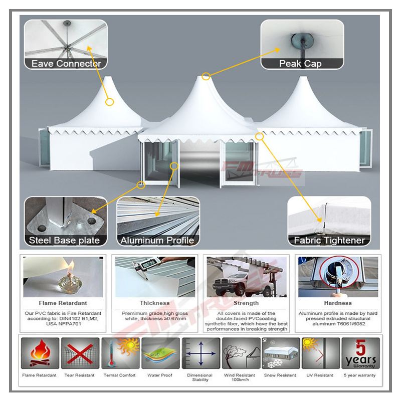 8X8m/ 9X9m/ 10X10m Outdoor Pagoda Tent for Party and Wedding Event