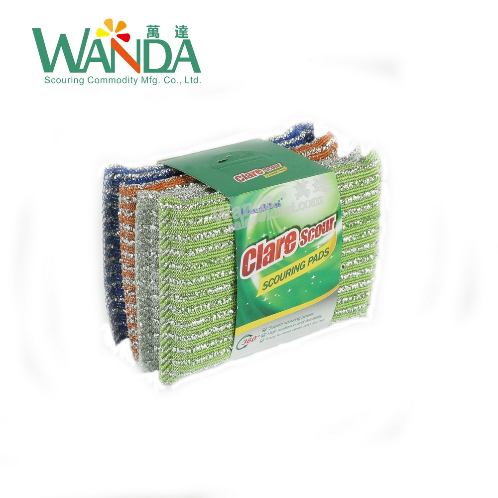 Scouring Sponge Pad Jacquard Sponge Scrubber for Kitchen Cleaning