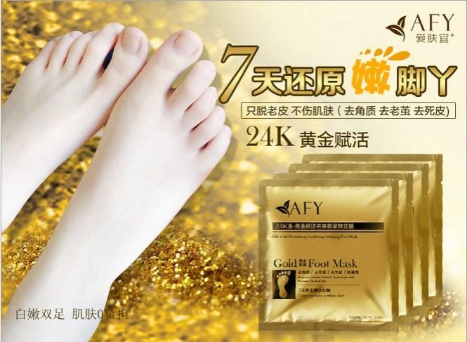 Remove Dead Skin Foot Mask Afy 24k Gold Revitalizing Exfoliazting Softening Foot Care Mask Foot Masks