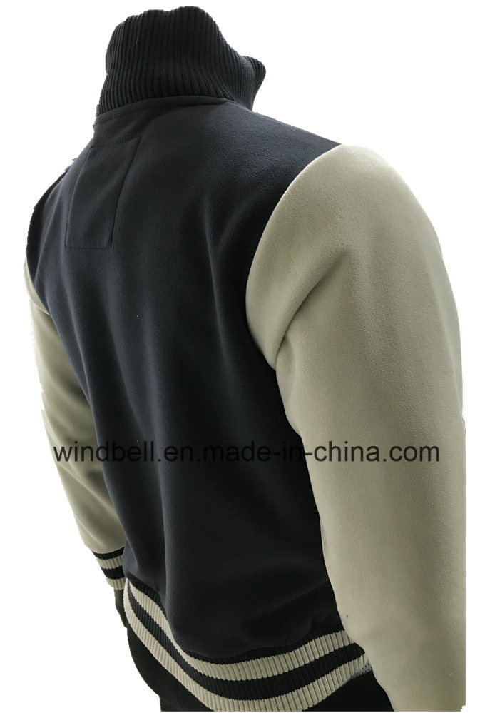 Stand Collar Double Face Polar Fleece Jacket for Men with Embroidery