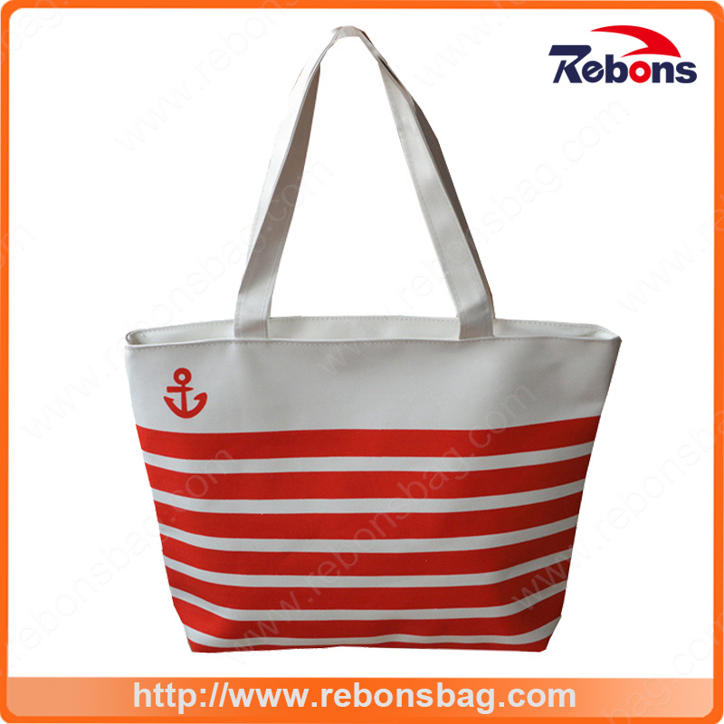 Custom Navy Striped Canvas Bags Shopping Bag