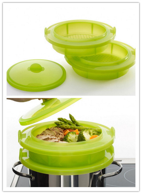 Plastic Silicone Steamer/Cook Two Dishes at The Same Time in Your Steamer