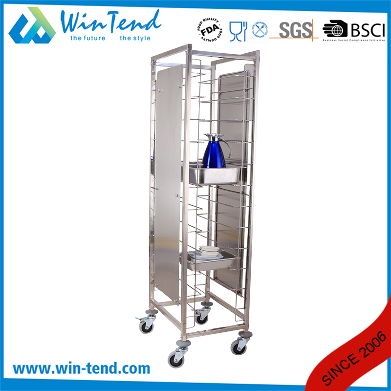 Hot Sale Commercial 12 Tiers Dual Rows Double Tray Clearing Rack Trolley with Side Panels