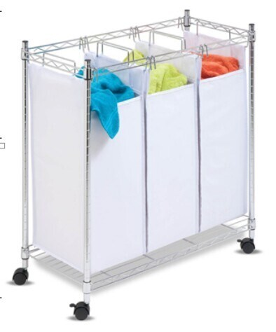 Space Saver DIY Chrome Metal Laundry Hamper for Home